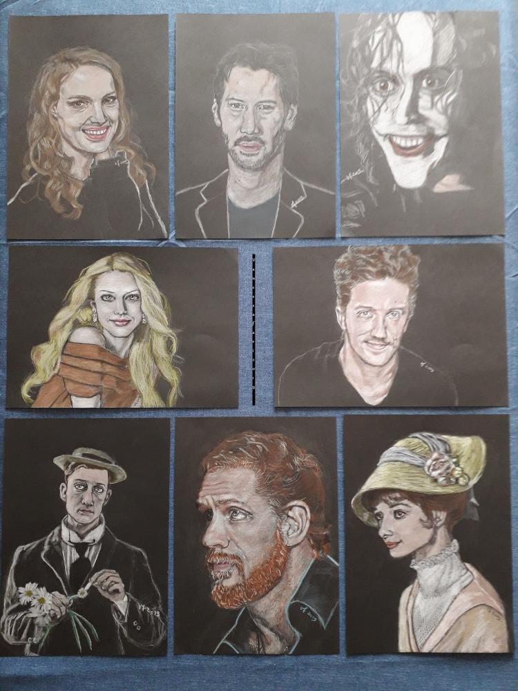 Audrey Hepburn, Tom Hardy, Buster Keaton, Jason Mraz, Amanda Seyfried, Brandon Lee, Keanu Reeves, Natalie Portman por Vanessafari